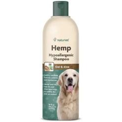NaturVet Hemp Hypoallergenic Dog Shampoo with Oat & Aloe, 16-oz Bottle.