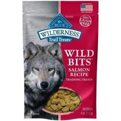 Blue Buffalo Wilderness Trail Treats Salmon Wild Bits Grain-Free Training Dog Treats, 4-oz Bag.