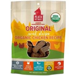 Plato Original Organic Real Strips Chicken Recipe Dog Treats, 6-oz Bag.