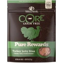 Wellness CORE Pure Rewards Grain-Free Turkey Jerky Bites Dog Treats, 4-oz Bag.