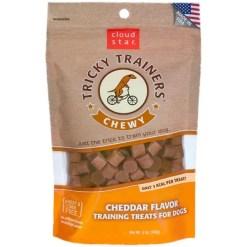 Tricky Trainers Chewy Cheddar Flavor Dog Treats, 5-oz Bag.