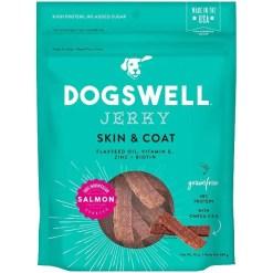 Dogswell Jerky Skin & Coat Salmon Recipe Grain-Free Dog Treats, 10-oz Bag.