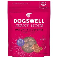 Dogswell Jerky Minis Immunity & Defense Duck Recipe Grain-Free Dog Treats, 4-oz Bag.