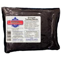 Halshan Premium Raw Food Frozen Whole Ground Turkey Necks & Vegetables Pet Food, 1-lb.