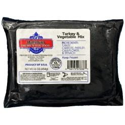 Halshan Premium Raw Food Frozen Turkey & Vegetable Mix Pet Food, 1-lb.
