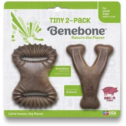 Benebone Bacon Flavor Tough Dog Chew Toy Tiny 2 Pack.