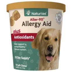 NaturVet Aller-911 Allergy Aid Soft Chews, 70 Count.