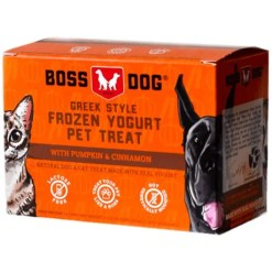Boss Dog Greek Style Pumpkin & Cinnamon Frozen Yogurt Pet Treat, 4 Pack of 3.5-oz Cups.