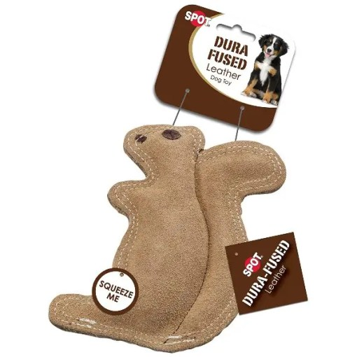 Ethical Pet Spot Dura-Fused Leather & Jute Squirrel, Small.