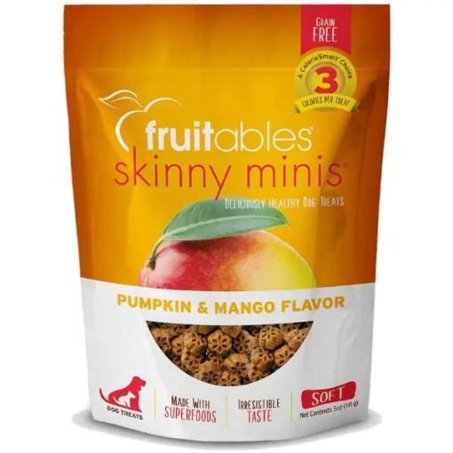 Fruitables Skinny Minis Pumpkin & Mango Flavor Soft & Chewy Dog Treats, 5-oz Bag.
