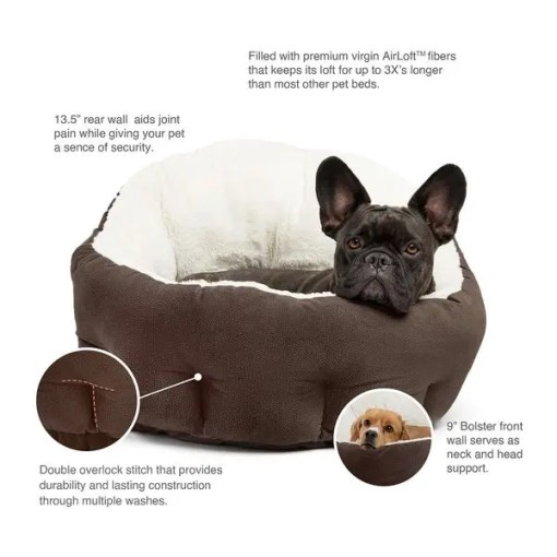 Best Friends by Sheri OrthoComfort Ilan Bolster Jumbo Pet Bed, Dark Chocolate.