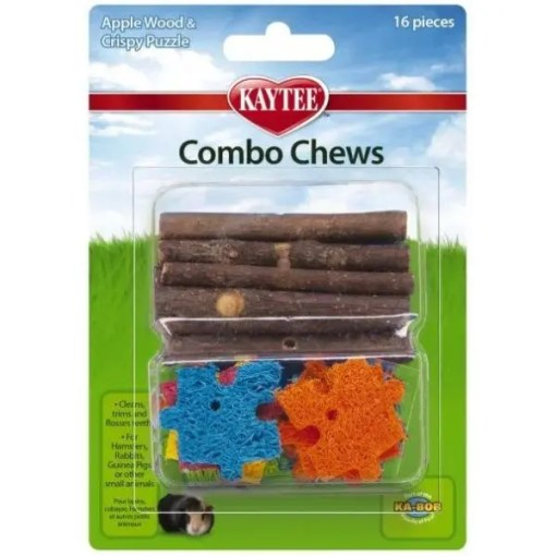 Kaytee Combo Chews Apple Wood and Crispy Puzzle Toy.