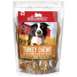 Bark & Harvest Turkey Tendon Natural Pet Chews, 2-oz Bag.
