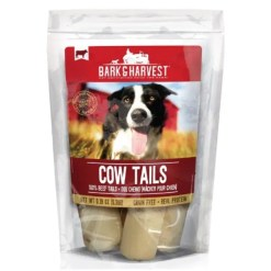 Bark & Harvest Cow Tails Chews Natural Dog Treats, 9 Count Bag.