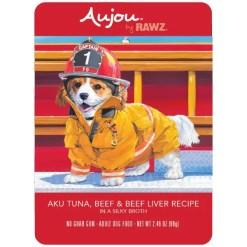 RAWZ Aujou Aku Tuna, Beef & Beef Liver Wet Dog Food, 2.46-oz, Case of 8 Pouches.