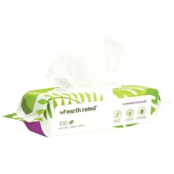 earth rated Lavender Scented Compostable Pet Wipes, 100 Count.