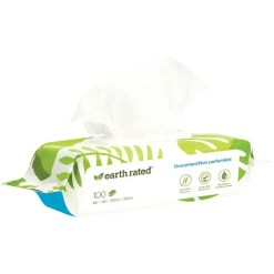earth rated Unscented Compostable Pet Wipes, 100 Count.