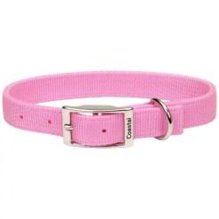 Coastal Double-Ply Dog Collar, Bright Pink.
