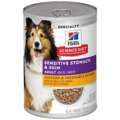 Hill's Science Diet Adult Sensitive Stomach & Skin Chicken & Vegetable Entrée Canned Dog Food, 12.8-oz
