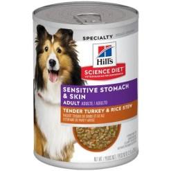 Hill's Science Diet Adult Sensitive Stomach & Skin Tender Turkey & Rice Stew Canned Dog Food, 12.8-oz SKU 5274202104