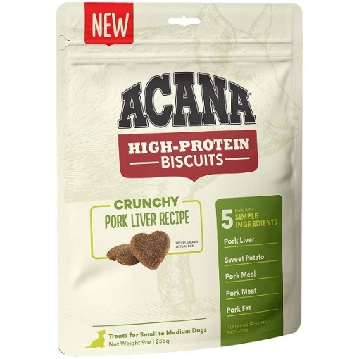 ACANA High-Protein Biscuits Crunchy Pork Liver Recipe Dog Treats, Small & Medium Breed, 9-oz SKU 6499271529