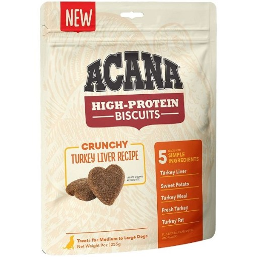 ACANA High-Protein Biscuits Crunchy Turkey Liver Recipe, Medium & Large Breed, 9-oz SKU 6499271531