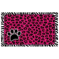 Drymate Pink Leopard & Zebra Pet Bowl Dog & Cat Placemat SKU 5803580212
