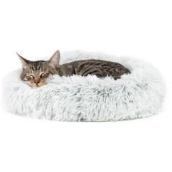 Best Friends by Sheri The Original Calming Shag Fur Donut Cuddler Cat & Dog Bed, Frost CAT