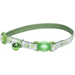 Coastal Safe Cat Glow in the Dark Adjustable Breakaway Collar, Lime Skulls SKU 7648406756