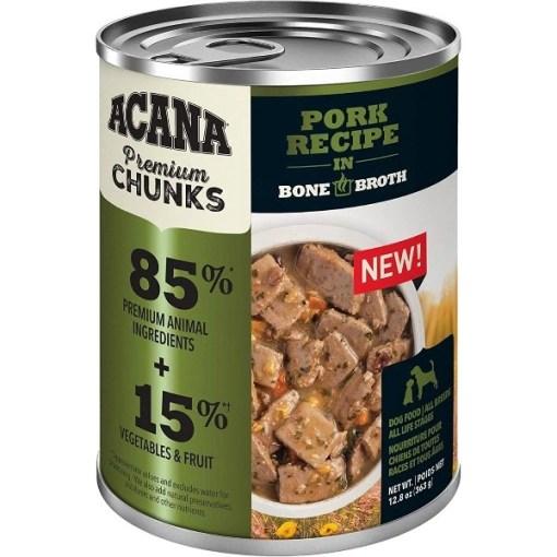 Acana Premium Chunks, Pork Recipe in Bone Broth Canned Dog Food, 12.8-oz