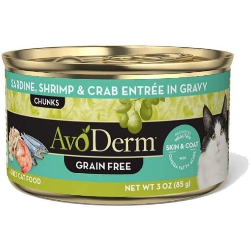 AvoDerm Grain-Free Sardine, Shrimp & Crab Meat Entree in Gravy Canned Cat Food, 3-oz SKU 5290702220