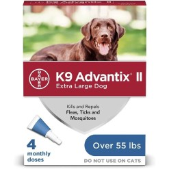 K9 Advantix II Flea & Tick Spot Treatment for Dogs, Over 55-lbs, 4 Pack SKU 2408920410