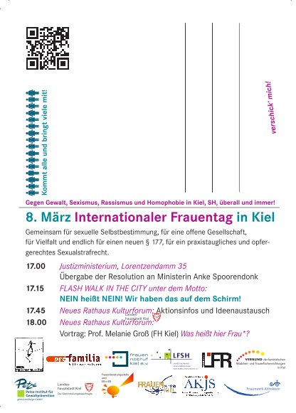 Postkarte 8. März Internationaler Frauentag in Kiel