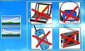 Les procédures de sécurité interdisent l'utilisation de tout appareil électronique dans les phases de décollage et atterrissage