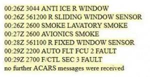 Message ACARS émis par l'avion avant sa disparition
