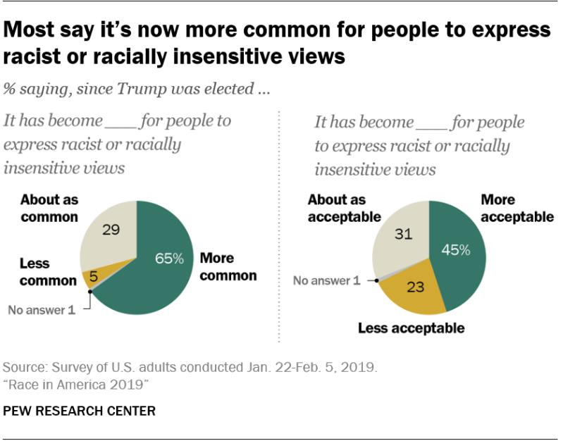 Most say it's now more common for people to express racist or racially insensitive views