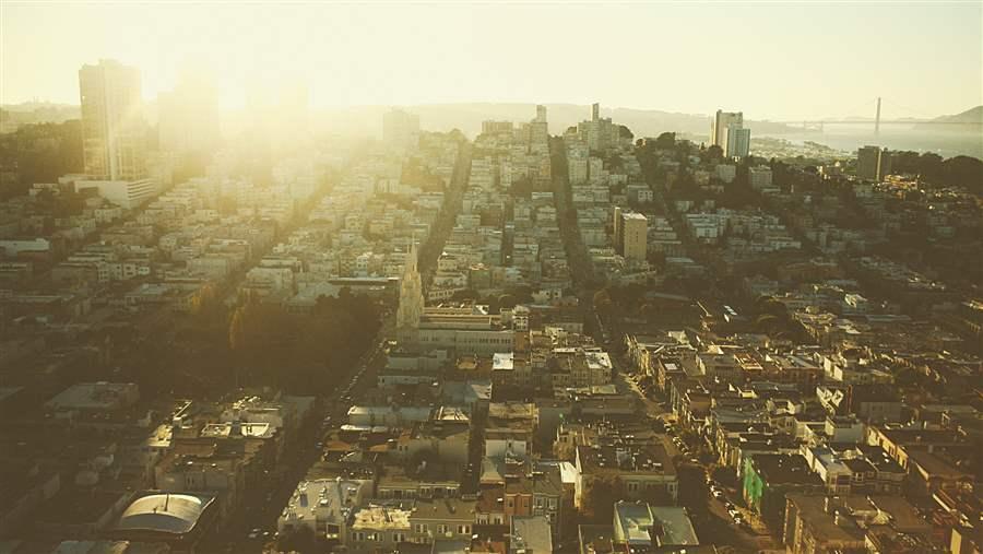 City with Sunrise