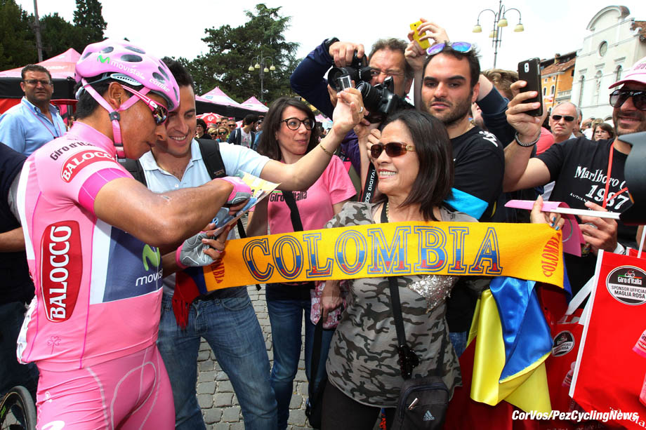 Cima Grappa - Italy - wielrennen - cycling - radsport - cyclisme - Nairo Alexander Quintana Rojas (Columbia / Team Movistar) and fans pictured during Giro-D'Itaia 2014 stage 19 from Bassano del Grappa - Cima Grappa (ITT) 26.8km - Time Trial Individual - photo Claudio MinardiCor Vos © 2014