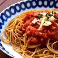 Pasta mit Tomatensoße und Speck - Pasta all'amatriciana