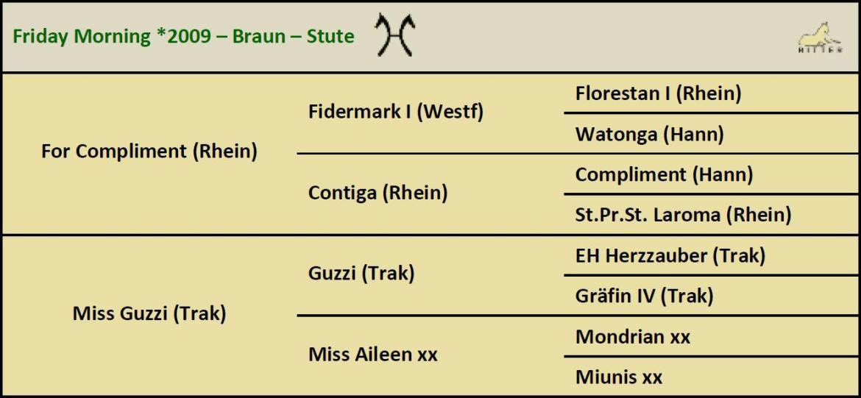 Pedigree FRIDAY MORNING Stute v. For Compliment x Guzzi, Oldenburger, geb. 2010
