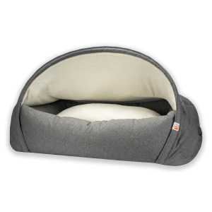 1. Sleepy Fox®-Snuggle Cave Bed for Dogs-Quilted Grey_Large_Tucked_Lining.jpg