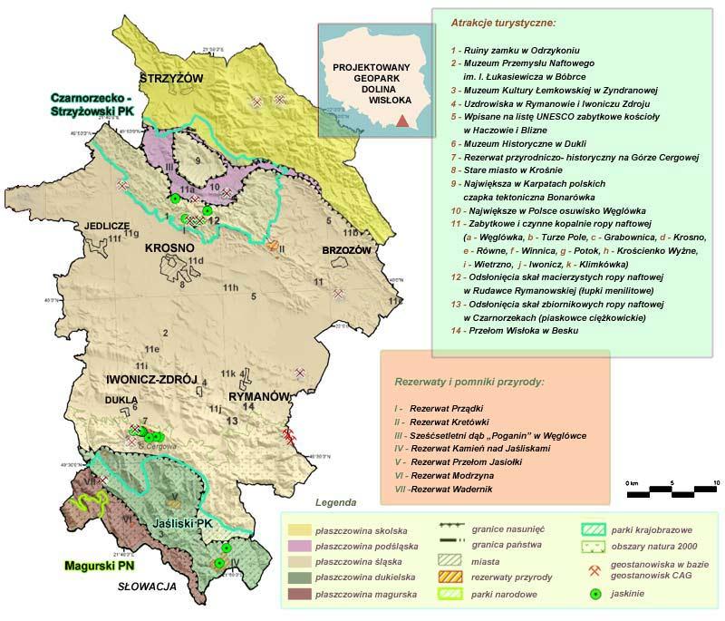 Mapa projektowanego geoparku Dolina Wisłoka - Polski Teksas