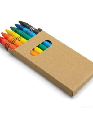 Set of six coloured wax crayons in a box.