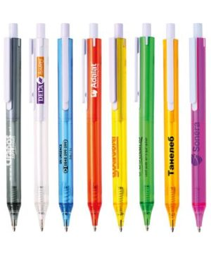 Transparent plastic ball pen with white clip