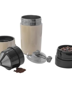 Coffee mug with built-in coffee grinder