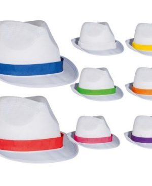 Polyester Fedora hat with colour finish