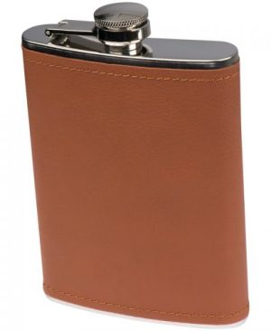 200ml Hip flask with brown leatherette finish