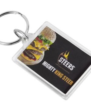 Sonic Welded Acrylic Keyring - Rectangle - Can take a full colour print