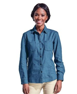 Barron Ladies Denim Blouse Long Sleeve - Avail in: Mid Blue