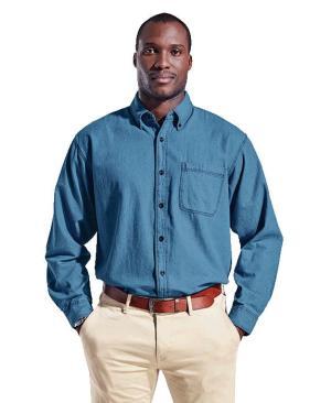 Barron Mens Denim Shirt Long Sleeve - Avail in: Mid Blue